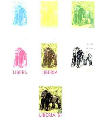 Liberia 1976 Animals $1 Gorilla the set of 7 imperf progressive proofs comprising the 4 individual colours plus 2, 3 and all 4-colour composites unmounted mint, as SG 129...