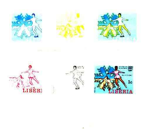 Liberia 1976 Innsbruck Winter Olympics 1c Figure-Skating the set of 6 imperf progressive proofs comprising the 4 individual colours plus 2 and all 4-colour composites unm...