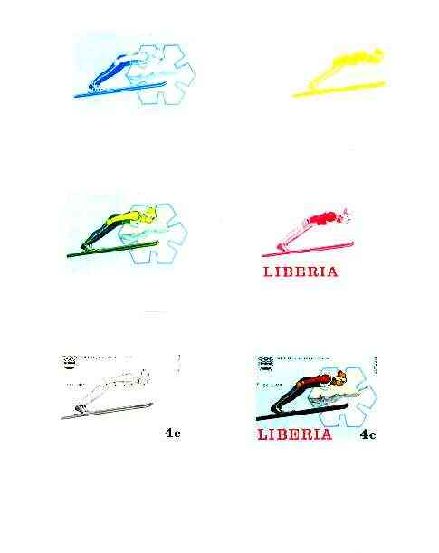 Liberia 1976 Innsbruck Winter Olympics 4c Ski Jumping the set of 6 imperf progressive proofs comprising the 4 individual colours plus 2 and all 4-colour composites unmounted mint, as SG 1261