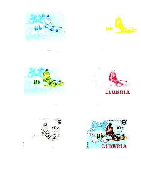 Liberia 1976 Innsbruck Winter Olympics 10c Slalom Skiing the set of 6 imperf progressive proofs comprising the 4 individual colours plus 2 and all 4-colour composites unm...