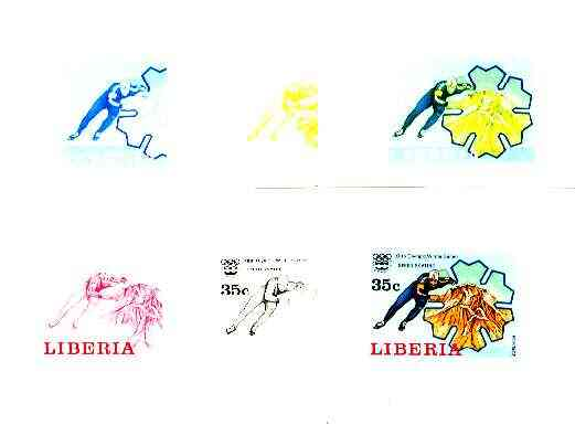 Liberia 1976 Innsbruck Winter Olympics 35c Speed Ice Skating the set of 6 imperf progressive proofs comprising the 4 individual colours plus 2 and all 4-colour composites unmounted mint, as SG 1264