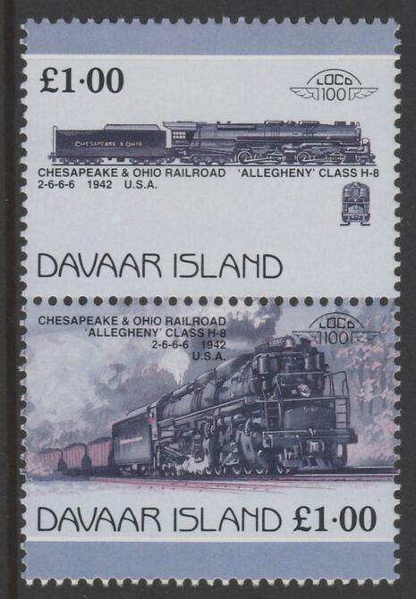 Davaar Island 1983 Locomotives #1 Chesapeake & Ohio Class H8 2-6-6-6 loco \A31 se-tenant pair with yellow omitted unmounted mint