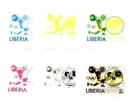 Liberia 1976 Montreal Olympics 2c Weight Lifting 2c the set of 6 imperf progressive proofs comprising the 4 individual colours plus 2 and all 4-colour composites unmounte...