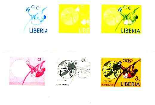 Liberia 1976 Montreal Olympics 3c Pole Vault the set of 6 imperf progressive proofs comprising the 4 individual colours plus 2 and all 4-colour composites, unmounted mint...
