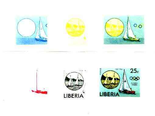 Liberia 1976 Montreal Olympics 25c Sailing the set of 6 imperf progressive proofs comprising the 4 individual colours plus 2 and all 4-colour composites unmounted mint, a...