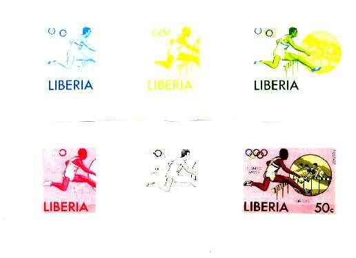 Liberia 1976 Montreal Olympics 50c Hurdling 50c the set of 6 imperf progressive proofs comprising the 4 individual colours plus 2 and all 4-colour composites unmounted mi...