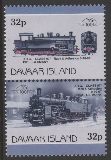 Davaar Island 1983 Locomotives #1 DRG Class 97 0-10-0 loco 32p perf se-tenant pair with yellow omitted unmounted mint
