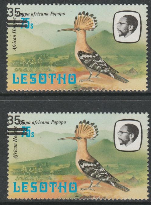 Lesotho 1986-88 Hoopoe Provisional 35s on 75s (1981 issue) with 'small s' variety plus normal for comparison, SG 721/a both unmounted mint, stamps on birds, stamps on hoopoe