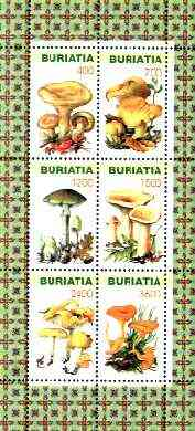 Buriatia Republic 1998 Fungi #03 perf sheetlet containing complete set of 6 values unmounted mint