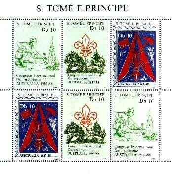 St Thomas & Prince Islands 1988 Australian International Scout Congress perf sheetlet containing two sets of 3, unmounted mint