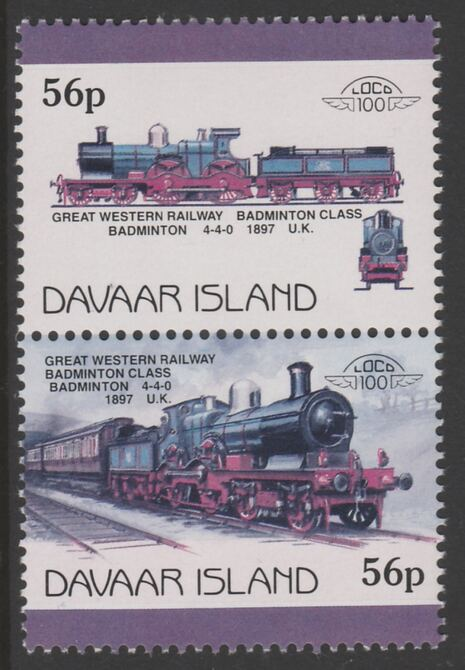 Davaar Island 1983 Locomotives #1 GWR Badminton Class 4-4-0 loco 56p se-tenant pair with yellow omitted  unmounted mint