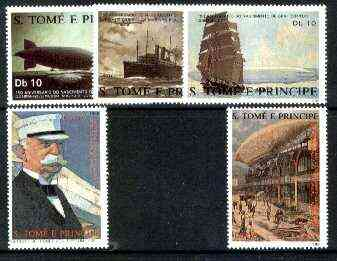 St Thomas & Prince Islands 1988 150th Anniversary of Zeppelin perf set of 5 unmounted mint