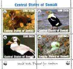 Somalia (Central States) 1998 WWF - Birds sheetlet containing set of 4 unmounted mint