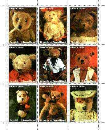 Somaliland 1999 Teddy Bears perf sheetlet containing coplete set of 9 values unmounted mint