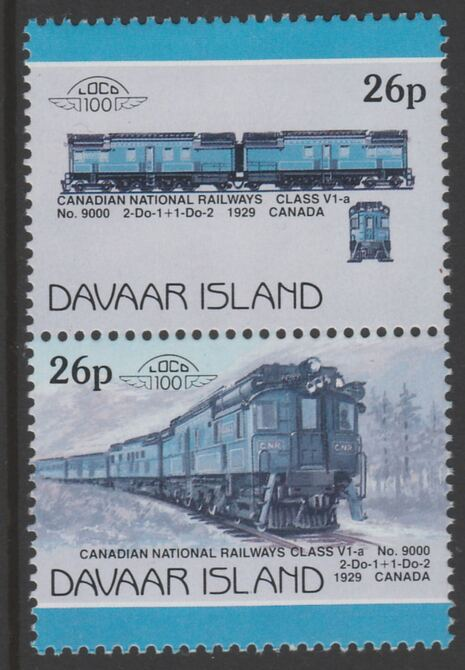 Davaar Island 1983 Locomotives #1 Canadian National Class V1-a loco No.9000 26p se-tenant pair with yellow omitted unmounted mint