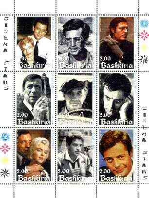 Bashkortostan 1999 Film Stars perf sheetlet containing complete set of 9 values (Mainly French but incl Marilyn Monroe) unmounted mint