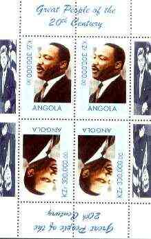 Angola 1999 Great People of the 20th Century - Martin Luther King perf sheetlet containing 4 values (2 tete-beche pairs) unmounted mint (JFK in margin)