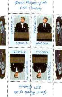 Angola 1999 Great People of the 20th Century - John Kennedy perf sheetlet of 4 (2 tete-beche pairs) unmounted mint