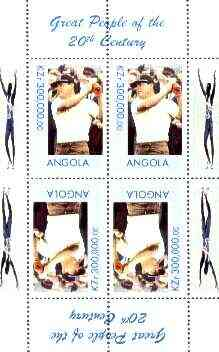 Angola 1999 Great People of the 20th Century - Lee Trevino (Golfer) perf sheetlet of 4 (2 tete-beche pairs) unmounted mint