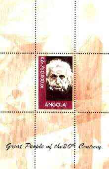 Angola 1999 Great People of the 20th Century - Albert Einstein (portrait) perf souvenir sheet unmounted mint