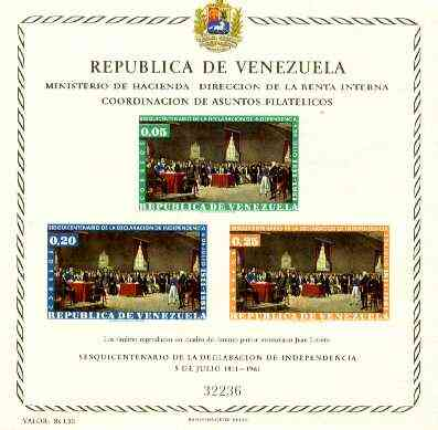 Venezuela 1962 Anniversary of Independence (Postage) imperf m/sheet, SG MS 1734