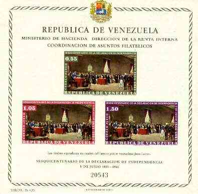 Venezuela 1962 Anniversary of Independence (Air Mail) imperf m/sheet, SG MS 1738