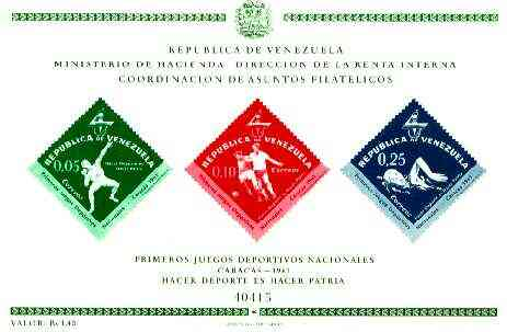 Venezuela 1962 First National Games (Postage) imperf m/sheet containing 3 diamond shaped stamps, SG MS 1743
