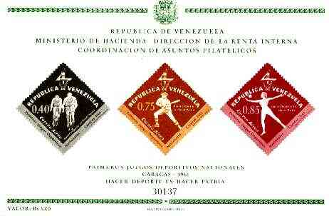 Venezuela 1962 First National Games (Air Mail) imperf m/sheet containing 3 diamond shaped stamps unmounted mint, SG MS 1747