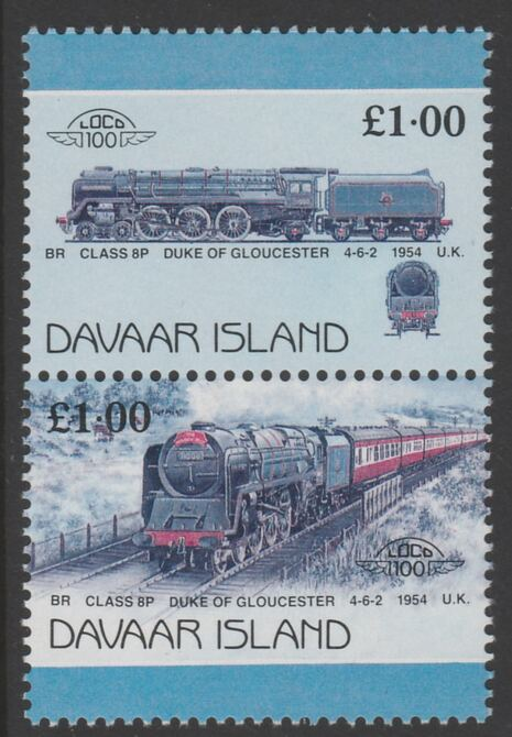 Davaar Island 1983 Locomotives #2 Duke of Gloucester 4-6-2 loco \A31 se-tenant pair with yellow omitted unmounted mint