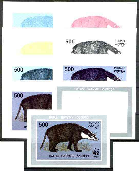 Batum 1994 WWF Wild Animals (Badger) souvenir sheet, the set of 9 imperf progressive colour proofs comprising the 5 individual colours plus 2, 3, 4 and all 5-colour composites unmounted mint
