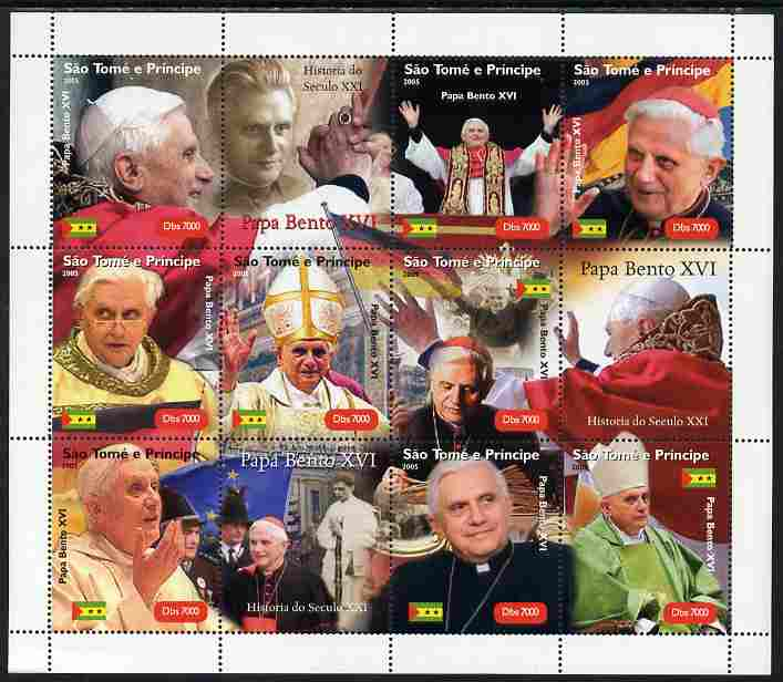 St Thomas & Prince Islands 2005 Pope Benedict perf sheetlet containing 12 values unmounted mint