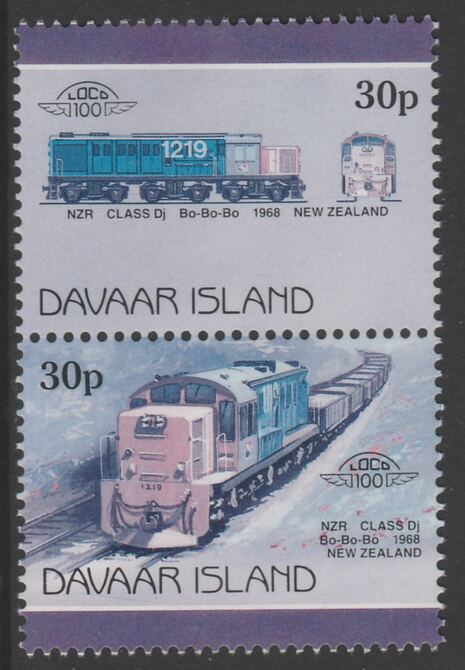 Davaar Island 1983 Locomotives #2 NZR Class Dj Bo-Bo-Bo loco 30p se-tenant pair with yellow omitted unmounted mint
