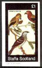 Staffa 1982 Birds #75 (Crossbill & Bunting) imperf souvenir sheet (�1 value) unmounted mint