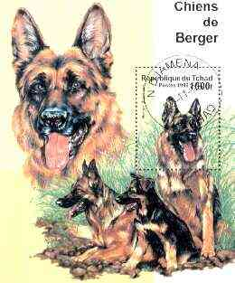 Chad 1999 Dogs (GSD) perf miniature sheet fine cto used