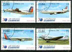 Cuba 1999 Aircraft (75th Anniversary Cubana) complete set of 4 values fine cto used*