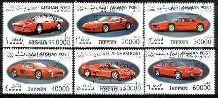 Afghanistan 1999 Ferrari Cars complete set of 6 values fine cto used*