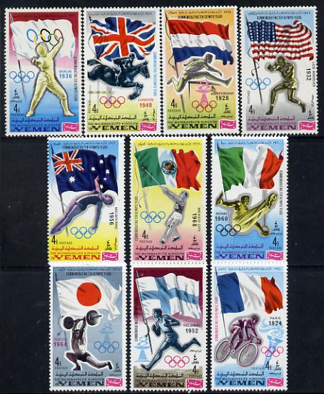 Yemen - Royalist 1968 Olympics Winners with Flags set of 10 unmounted mint (Mi 517-27A ex 520)