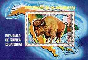 Equatorial Guinea 1977 North American Animals (Buffalo) perf m/sheet fine cto used, MI BL 271