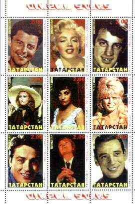 Tatarstan Republic 1999 Film Stars perf sheetlet containing complete set of 9 values (Marilyn, Sophia Loren, Gina, Bardot, Yves M etc) unmounted mint