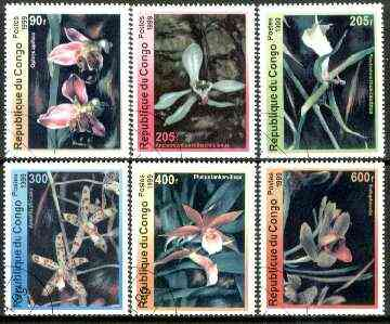 Congo 1999 Orchids complete set of 6 values fine cto used*