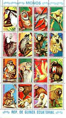 Equatorial Guinea 1974 (?) Primates cto set of 16