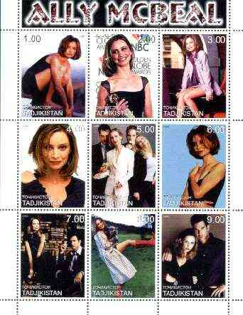 Tadjikistan 1999 Ally McBeal perf sheetlet containing complete set of 9 values unmounted mint, stamps on personalities, stamps on entertainments, stamps on films, stamps on cinema, stamps on  tv , stamps on women