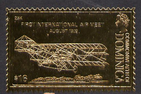 Dominica 1978 History of Aviation (First International Air Meet) $16 embossed on 23k gold foil unmounted mint