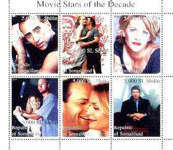 Somaliland 1999 Movie Stars of the Decade perf sheetlet containing set of 6 values (H Ford, Meg Ryan, Tom Cruise, etc) unmounted mint