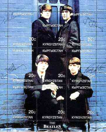Kyrgyzstan 1999 Beatles composite perf sheet of 9 values unmounted mint