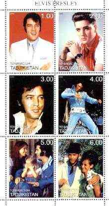 Tadjikistan 1999 Elvis Presley perf sheet of 6 values unmounted mint, stamps on music, stamps on entertainments, stamps on elvis, stamps on pops, stamps on films, stamps on cinema, stamps on personalities