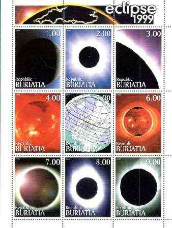 Buriatia Republic 1999 Eclipse perf sheetlet containing complete set of 9 values unmounted mint