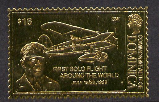 Dominica 1978 History of Aviation (Wiley Post & First Solo Flight Around the World) $16 embossed on 23k gold foil unmounted mint