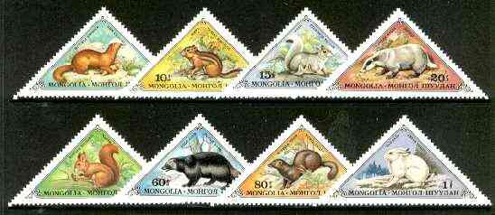 Mongolia 1973 Small Fur Animals triangular set of 8 unmounted mint, SG 772-79
