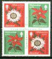 Cinderella - Germany 1962 Christmas TB seal se-tenant block of 4 (flowers) imperf internally unmounted mint